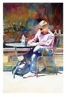 "Coffee shop by Graham Berry Watercolor ~ x Coffee-Shop von Graham Berry Aquarell ~ 18 ""x Watercolor Pictures, Watercolor Portraits, Watercolor Paintings, Watercolors, Watercolor Artists, Landscape Paintings, Painting People, Figure Painting, Painting & Drawing"