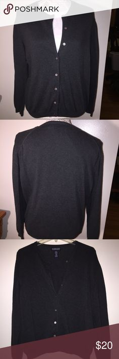 Lands End charcoal crew cardigan Lands End charcoal crew cardigan. 100% cotton. Good condition. Lands' End Sweaters Cardigans