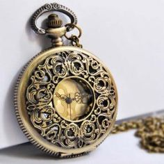 $5.31 Vintage Exquisite Style Openwork Engraved Flower Shape Pocket Watch Pendant Sweater Chain For Women