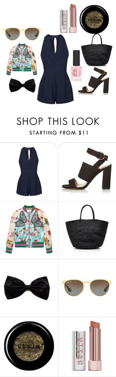 """Play suit"" by krisalynj ❤ liked on Polyvore featuring Topshop, Gucci, Sensi Studio, Ray-Ban and Stila"