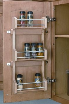 Rev-A-Shelf Adjustable Door Mount Spice Rack Door Mounted Spice Rack, Wood Spice Rack, Spice Racks, Inside Kitchen Cabinets, Kitchen Cabinet Doors, Cabinet Space, Diy Kitchen, Cupboard, Kitchen Ideas