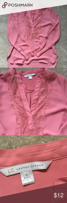 LC coral/pink high-low blouse This top is absolutely adorable! Pairs perfect with skinny jeans and boots! Flattering high-low, flowy design. EUC. Smoke free/pet friendly home. LC Lauren Conrad Tops Blouses