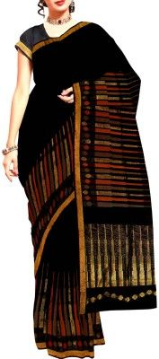 Unnati Silks Self Design Mysore Handloom Silk Sari Feel on top of the world in this very gorgeous rustic black color Mysore silk by cotton saree.You are a picture of Gentility and beauteousness in this wonderful pattu silk by cotton saree with orange,cream temple style woven border and zari border.Display the grandeur by flaunting the self color weaving. Creating a flutter with matching blouse, it would do nicely for wedding,party.