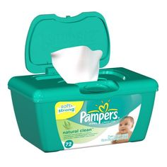 Pampers Natural Clean Wipes Tub 72 Count (Pack of 8)
