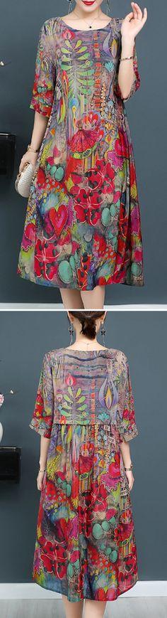 Elegant Printed silk Dress for Women #dresses #fashion #summer