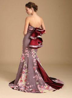 【艶やか】アンティーク振袖で作ったウェディングドレスがジャパニーズビューティー / 全部1点もので、レンタルできます | Pouch[ポーチ]