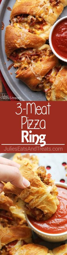 3-Meat Pizza Ring ~ Flaky Crescent Rolls Stuffed with Three Meats and topped with Cheese! The Perfect Quick & Easy Weeknight Dinner or Game Day Treat! ~ http://www.julieseatsandtreats.com