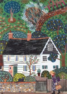 Monk's House Visitor: Mrs Bell by amanda white in Writers' Houses (Sold), Painting using Cut Paper Collage ©Amanda White. Art And Illustration, Illustrations, Cottage Art, Art Pictures, Photos, Collage Artists, Arte Popular, Naive Art, Kitsch