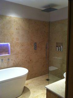 Freestanding bath with mood lighting. Bathroom designed & installed by Doug Cleghorn Bathrooms www.dougcleghorn.co.uk