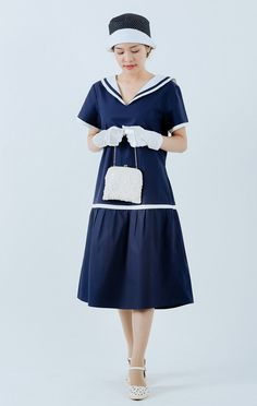 1920s sailor dress in navy and white blue