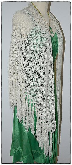 Vintage Ivory Lacy Crocheted Shawl With Long by ChrisMartinDesigns, $22.00