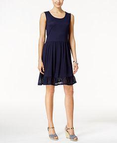 Style & Co. A-Line Crochet-Trim Dress, Only at Macy's - Dresses - Women - Macy's