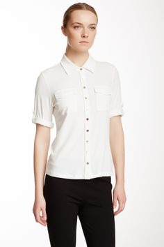 Solid Roll Sleeve Pocketed Shirt