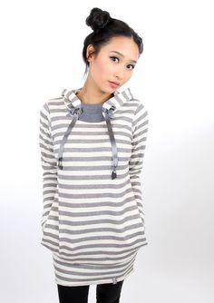 Entdecke lässige und festliche Kleider: MEKO Hip Kleid Grau Ringel Damen langarm made by meko Store via DaWanda.com