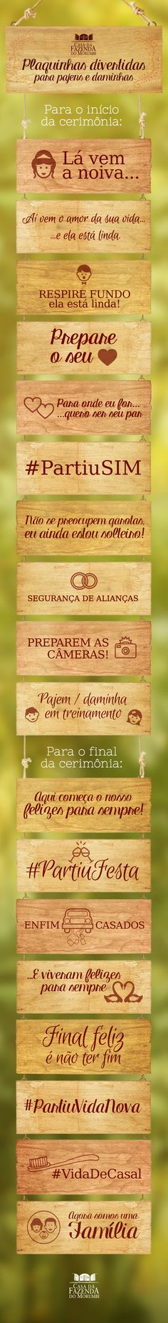 #CasadaFazendadoMorumbi #Plaquinhas #Pajém #Daminha #Casamento #Inspiração Wedding Tips, Wedding Couples, Wedding Details, Our Wedding, Wedding Venues, Wedding Planning, Dream Wedding, Party Decoration, Wedding Decorations
