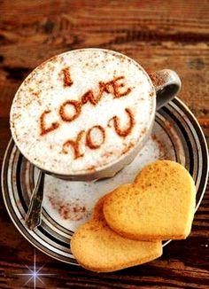 :*¨¨*:·.Coffee ♥Art.·:*¨¨*:  I #love you #latte art #coffee