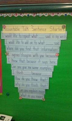 Accountable Talk Sentence Starters for a 2nd grade class