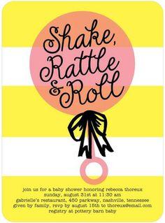 Radiant Rattle - Baby Shower Invitations - Baumbirdy - Medium Pink #babyshower