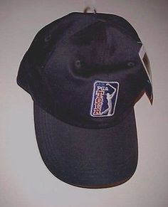 PGA Tour Swinging Golfer Design Logo Black Baseball Cap One Size Fit All New d4a3a149b52