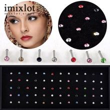 1 Pack of 60/40 PCS Crystal Rhinestone Bulk Bone Straight Stud Bar Piercing Nose Ring 2 Colors