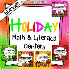 Holiday math and literacy centers (Valentines Day, St. Patricks Day, Halloween, Thanksgiving, and Christmas) are loaded with fun, hands on activities to help your students build math and literacy concepts! Perfect for preschool, pre-k, and kindergarten! Pocket of Preschool