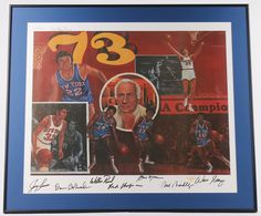 1973 New York Knickerbockers 28x33 Custom Framed Lithograph Signed By (7) With Walt Frazier, Jerry Lucas, Dave DeBusschere (LOA)