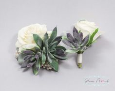 Succulent Rose Wrist Corsage & Boutonniere Set. by GlamFloral
