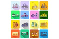 Factory icons set in flat style. Objects. $5.00