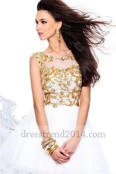Beaded White Gold Open Back Short Prom Dress 2014