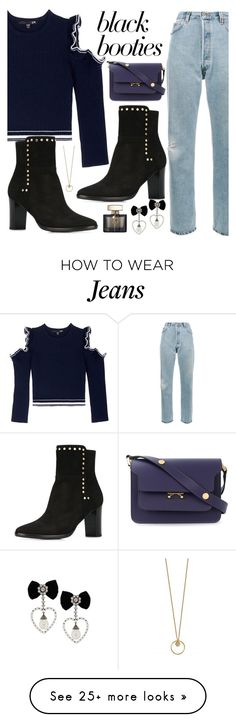 """""""Black Booties"""" by sunny-chen-2 on Polyvore featuring Comme Moi, RE/DONE, Marni and Gucci"""