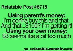 Parent's money vs ur own money