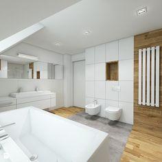 łazienki - Duża łazienka na poddaszu w domu jednorodzinnym z oknem, styl nowoczesny - zdjęcie od TutajConcept