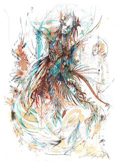 Love the Color and the texture illusions  Painting by Carne Griffiths    Found on www.emptykingdom.com