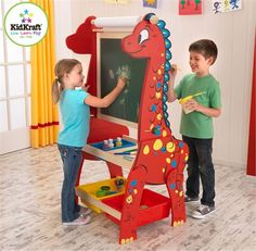 Kidkraft Dinosaur Easel With Paper Roll Dry Erase Surface On One Side Chalkboard The Other Two Large Plastic Bins At Bottom Keep All Art