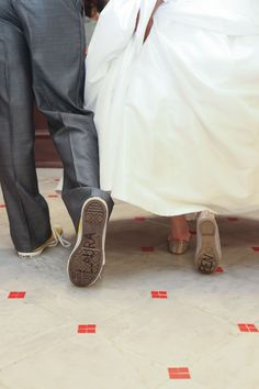 """Up"" Movie-Inspired Disney Wedding: Laura & Benjamin at Walt Disney World, FL - In a nod to the couple's other favorite Disney film, Toy Story, they wrote their names on the bottom of each other's shoes."