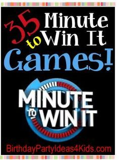 35 Fun Minute to Win It Games! Great for birthday parties! Easy to set up, but challenging and fun for boys and girls, kids, tweens and teens ages 18 ye (Minute To Win It Christmas Games) Kids Party Games, Birthday Party Games, Birthday Fun, Birthday Ideas, Party Activities, Birthday Recipes, Bonfire Birthday, Indoor Party Games, Icebreaker Activities