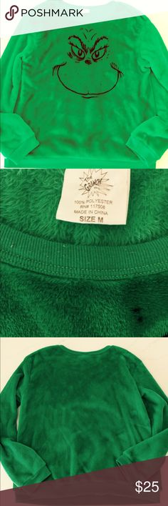 Grinch green sweatshirt Perfect shirt for your holiday parties or just because you love this cute Grinch! This shirt is made of the softest fluffiest material ever!!!!  It's in great condition but does have a tiny bit of piling around neck and waist band as seen in pics. Could be shaved off easily, i just don't own one. You need this holiday Grinch!!! Tops Sweatshirts & Hoodies