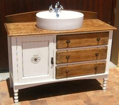 GORGEOUS UP-CYCLED WASH STAND CONVERTED TO BATHROOM VANITY