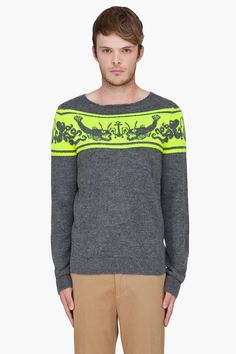PAUL SMITH  Grey Fish Pattern Alpaca Sweater