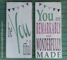 Be YOU tiful and You are Remarkably and Wonderfully Made Typography Word Art Signs with Bunting - The Perfect Signs for a Girls room