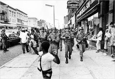 """""""sixtieshistory:  National Guardsmen in Newark, NJ on July 14, 1967. 23 people were killed and 700 hurt in riots that sprung from a false rumor that police had killed an African-American cabdriver. Photo from the New York Times. Article on the riot and legacy here  """""""