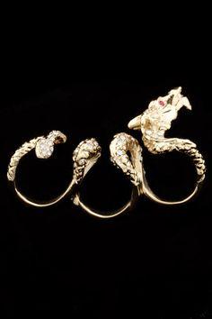 3-Finger Dragon Ring In Gold