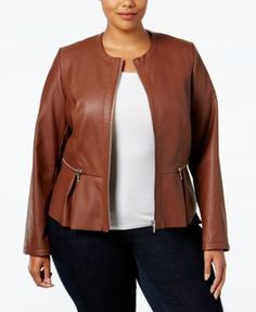 INC International Concepts Plus Size Faux-Leather Peplum Moto Jacket, Only at Macy's | macys.com