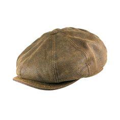 68fd9cf7257 MEN    Stetson Hats Burney Leather Newsboy Cap Stetson Hats