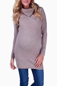 Mocha Turtle Neck Maternity Sweater #maternity #fashion