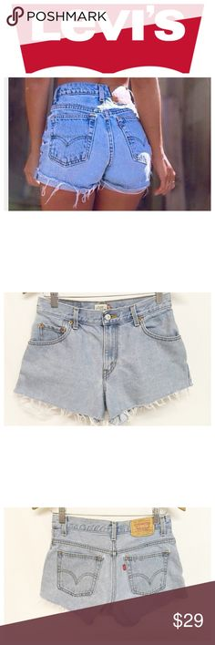 💕Levi's Custom High Waisted Shorts ~~ Levi's Custom Light Wash High Waisted Cut Off Shorts ~~ Size 6 ~~ Waist 28 ~~ Hips 34 ~~ Rise 10 ~~ Inseam 2.5 ~~ 100% cotton ~~ 5 pocket design ~~ Like new, no flaws ~~ Model is wearing similar style ~~ all clothes come freshly laundered, hand washed or dry cleaned unless NWT ~~ NO TRADES Levi's Shorts Jean Shorts