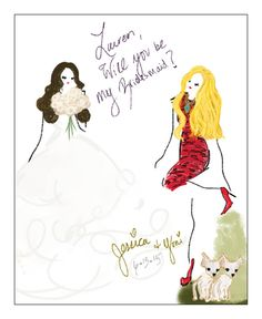 Personalized Illustration Gifts For Your by WillUBeMyBridesmaid