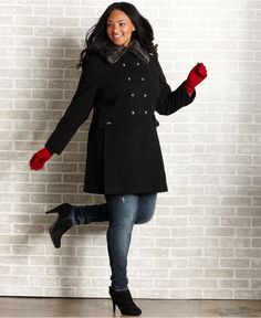 American Rag Plus Size Coat, Faux Fur Collar Double-Breasted, In Black - Macy's