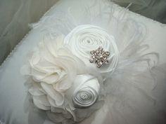 beautiful to add to a wedding bird age....or Baby Girl Flower Headband, Christening, Baptism, Blessings, Photo Prop,White Headband / Snow White Rosette Flower Headband. $20.95, via Etsy.