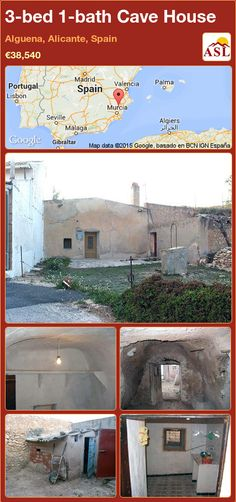 Cave House for Sale in Alguena, Alicante, Spain with 3 bedrooms, 1 bathroom - A Spanish Life Murcia, Valencia, Portugal, Alicante Spain, Living Room Kitchen, Small Towns, Cosy, Patio, The Originals